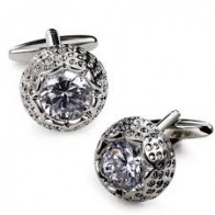 Leaf Jewel Rhodium Plated Cufflinks